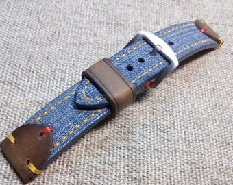 22/22mm.CANVAS leather strap BLUE JEANS handmade.