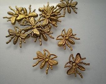 12 tiny brass bee charms