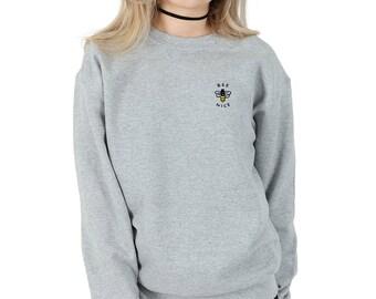 Bee Nice Pocket Sweater Jumper Top Fashion Sweatshirt Grunge Cute Be