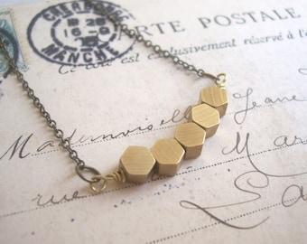 Golden Honeycomb Row necklace - solid brass hexagon beads - geometric jewellery
