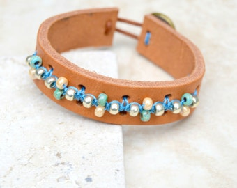 Hand Knotted Turquoise Glass Bead Leather Bracelet. Boho.Button . Glass . Wedding Gift .Bracelet. Boho .
