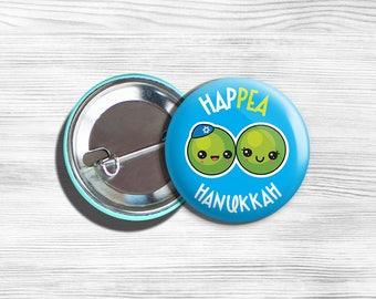 Vegan Kawaii Hanukkah Chanukah pin button badge, kawaii Vegan Hanukkah pin badge Vegan kawaii Chanukah button, Hanukkah pin badge Vegetarian