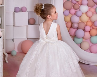 Ivory Lace Flower Girl Dress - Birthday Holiday Wedding Party Bridesmaid Ivory Tulle Lace Flower Girl Dress 15-031