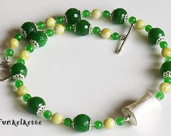 Chain Green flower green agate Jewelry Green necklace eindrucksvol Green jewelry Red necklace Yellow