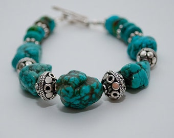 Classic Turquoise Nugget and Sterling Silver Bracelet
