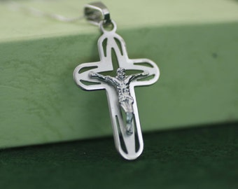 Sterling Silver Cross Necklace, Oval Finish Cross Necklace, Crucifix Cross Pendant, Solid Silver Cross Necklace, Silver Crucifix Necklace