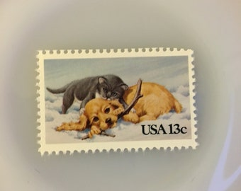 Puppy and Kitten- 13c Unused Postage Stamps- Quantity of 5