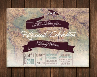 Travel Theme Retirement Party Invitation - Custom Digital Copy