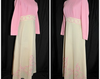 Vintage 60's 70's Maxi Hostess Dress / Size Medium / Polyester with Full Sweep & Pink Cording Accents