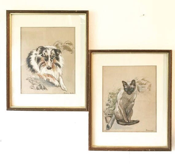 vintage original pencil drawing - Australian Shepherd - Siamese Cat - pastel sketch - animal wall art