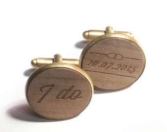 Groom gift custom wedding cufflinks wedding date I do