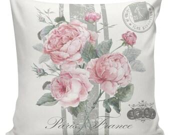 Spring Pillow Vintage French Pillow Botanical Spring Roses Throw Pillow - Elliott Heath Designs #SP0187