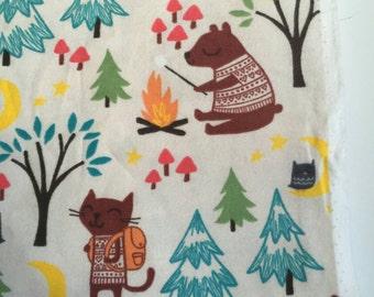 Woodland creatures camping receiving blanket