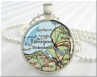 Liverpool Map Pendant, Resin Charm, Liverpool England Map Necklace, England Gift, Round Silver, Gift Under 20, Travel Gift 460RS
