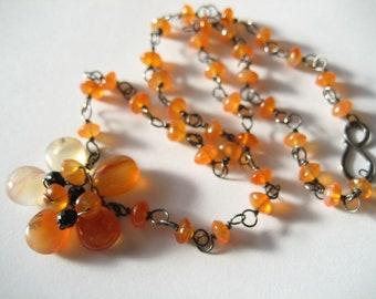 "Carnelian Beaded Flower Pendant Sterling Silver Necklace 18.5"" chain"