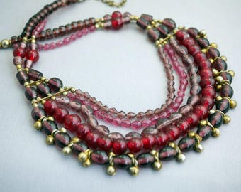 Beaded Bib necklace India Glass Bead Necklace Collar Necklace