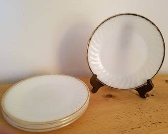 Vintage Fire King Milk Glass Swirl with Gold Trim Dinner Plate