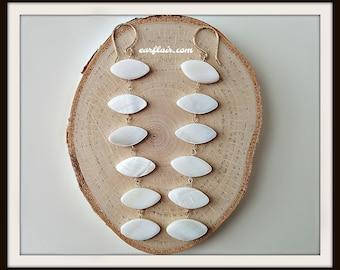 Bohemian Earrings | Long Dangle Earrings | Long Chandelier Earrings | White Earrings| Mother Of Pearl | Beach Jewelry| Wedding Earrings |A85
