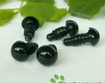 Black Round Safety Eyes Plastic Doll Eyes (BE) - 10 Pairs - 3mm 4mm 4.5mm 5mm 5.5mm 6mm 6.5mm 7mm 7.5mm 8mm 9mm 10mm