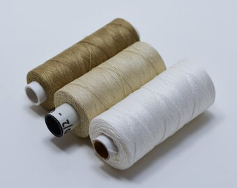 Linen Thread for knitting, tatting, bobbin lace. 60/2, 100/2, 80/2 and more Linen thread in 3 color options.