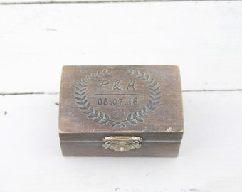 Ring Bearer Box, Wedding Ring Box, Personalised Wedding Ring Box, Ring Bearer Pillow, Rustic Wedding Ring Holder, Pillow Bearer Box