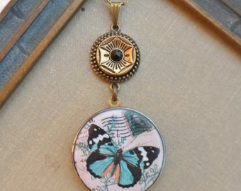50% Off Antique Button Locket Necklace- Butterfly- Steampunk Designs by Timeless Trinkets