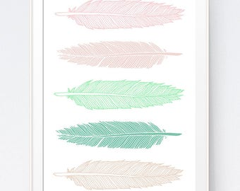 Blush Pink Mint Feather Print, Pink Green Feather Art, 5 Feathers Green Mint Blush Pink  Wall Art, Home Wall Art Feathers, INSTANT DOWNLOAD