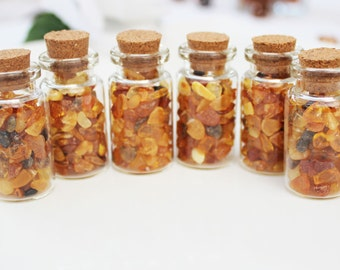 Cute little glass bottle filled with genuine Baltic Amber makes beautifully unique decoration/gift, perfect for table decor, wedding, christ