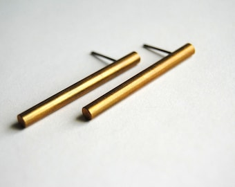 Brass Bar Earrings - Vintage Jewelry - Free Shipping in the US