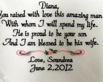 Wedding Gift, Future Mother In Law, Embroidered Wedding Hankerchief, - I am Blessed to be his Wife By Canyon Embroidery