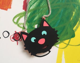 Cat necklace,  acrylic necklace, laser cut necklace , black cat necklace, statement necklace, cats, kittens, halloween, animal jewellery