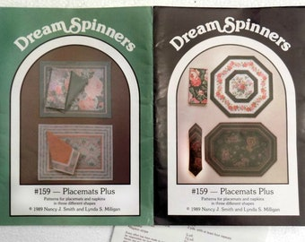 "pattern place mats - Pattern "" Dream Spinners"" by Nancy J. Smith - Paper Pattern Place Mats - no. 159 - 1989 # 12"