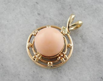 Pink Coral Pendant With Geometric Frame RN620W
