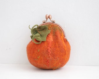Pumpkin, hand felted purse for cosmetics, phone or money