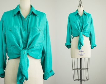 90s Vintage Oleg Cassini Teal Green Silk Slouchy Collared Button Up Blouse / Size Medium