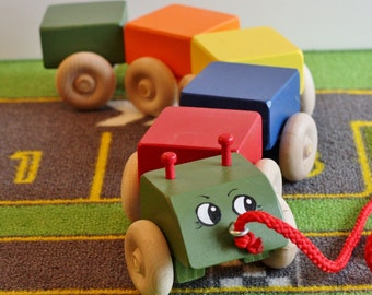 Toy Caterpillar Pull Toy - Primary Colors - Handcrafted Wooden Colorful Caterpillar Pull Toy - Children call this a train - Choo -Choo