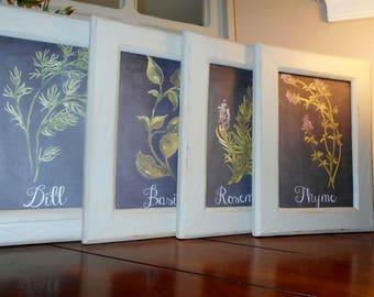Framed Herbs Kitchen Wall Art Set of 4