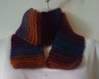 Crochet Scarf - Rust, Brown, Blue, Purple and Maroon