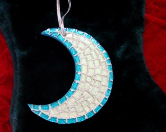 Blue Moon Mosaic Suncatcher or Ornament with Turquoise Border