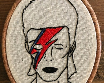 Hand Embroidery David Bowie Portrait with Lightening Bolt