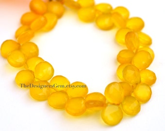 Bright Yellow Faceted Chalcedony Heart Briolettes 11mm- 1/2 STRAND