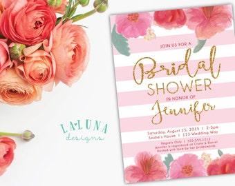 Bridal Shower Invitation, Pink Floral Stripe Bridal Shower Invite, Pink and Gold Glitter Bridal Shower, Hibiscus Invitation, Printable