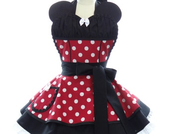 Birthday Costume Apron - Ms. Mouse with Ears + Polka Dots Sexy Womans Aprons - Vintage Apron Style - Pin up Sweetheart Rockabilly Cosplay