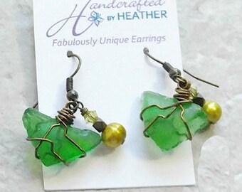 Beach glass earrings, pearl earrings, finger lakes, gifts for mom, wedding jewelry, bridal jewelry, june birthstone, green earrings, sister