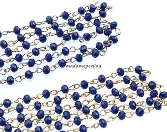 beaded chain 2.26 feet finished with clasp cz crystal rosary wire wrapped royal blue 4mm beades gold or silver plated ready to use mdla318b