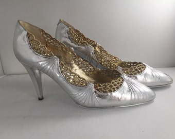 Vintage Rene Caovilla Silver Pumps size 37 leather with rhinestones and silver sole!!!