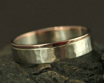 Bicolor Band--Solid Gold Two Tone Ring--The Centurion--Men's Wedding Ring--Hammered Band--Flat Edge Band--Rustic Ring--Rose and White Gold