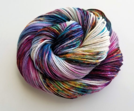 Emmelyne- 2nd Anniversary colorway- 100% Organic cotton, Hand Dyed, Speckled, Variegated Yarn