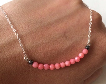 Sterling Silver Pink Coral  bar necklace.