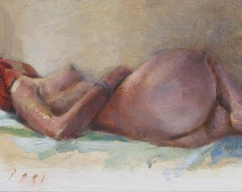 Reclining Female Nude Figure in Bed 5x7 Interior Original Oil Daily Painting a Day Contemporary Realism by DANIEL PECI Impressionist Art